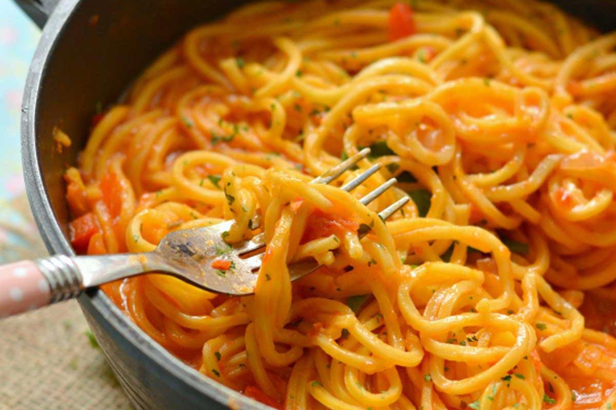 Spaguetti con pollo Receta de pasta espaguetis fcil