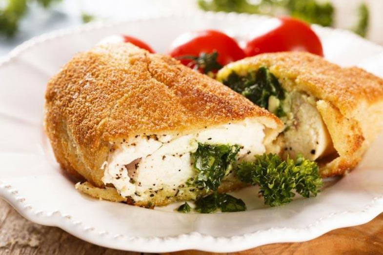 Pollo kiev Receta Relleno de mantequilla y frito
