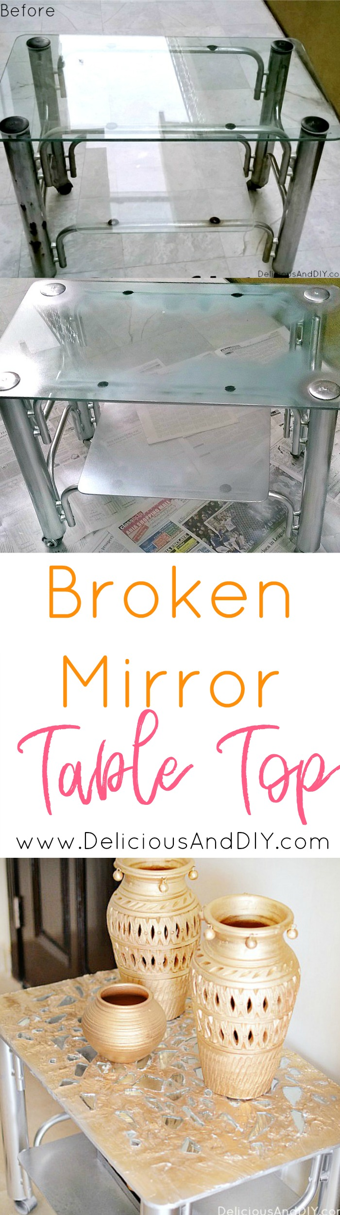 Transform a dated TV Trolley into this glam piece of art using pieces of broken mirror| Table Makeover from Drab to Glam| Furniture Makeover| Home Decor| DIY Crafts| Broken Mirror Projects| Grout Project| Mosaic Table Makeover| Before and After Furniture