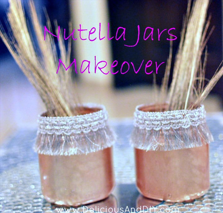 Nutella Bottles Makeover using a spray paint and lace trim| Spray Painted Bottles| Home Decor| Upcycled Bottles and Jars| Nutella Bottles Makeover Ideas| Recycling Old Bottles
