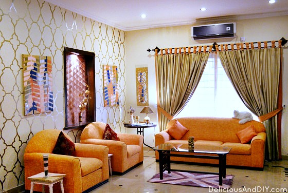 This Gorgeous Bright Living Room is not only an easy Room Makeover but makes such a statement| Room Reveals| Before and After | Home Decor| Accent Wall Ideas| Orange theme Room Makeover| DIY Projects| Room Decor Ideas