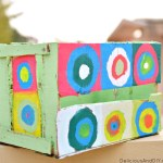 Painted Circles Wooden Crate Makeover