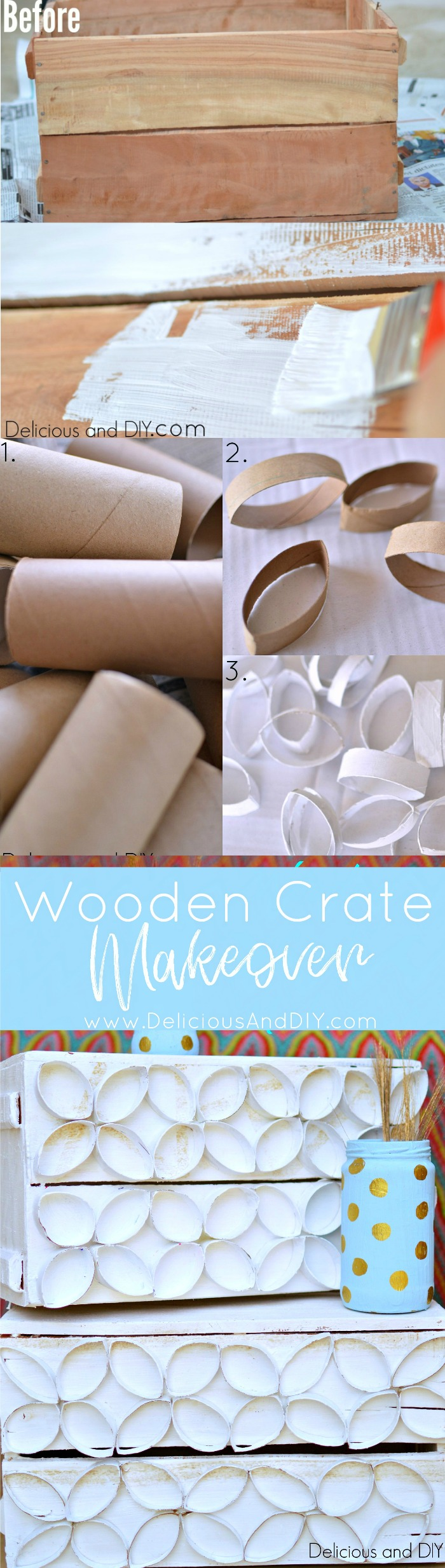Wooden Crate Makeover using Toilet Paper Roll| TP Roll Projects| Wooden Crate Makeover| TP roll made into flowers| Recycle Crates| Repurposed Wooden Crates| TP roll projects| DIY Crafts