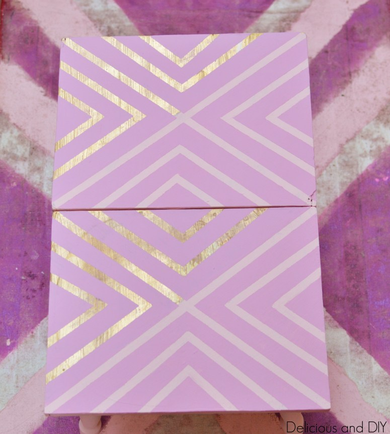 Pink and Gold Geometric Table