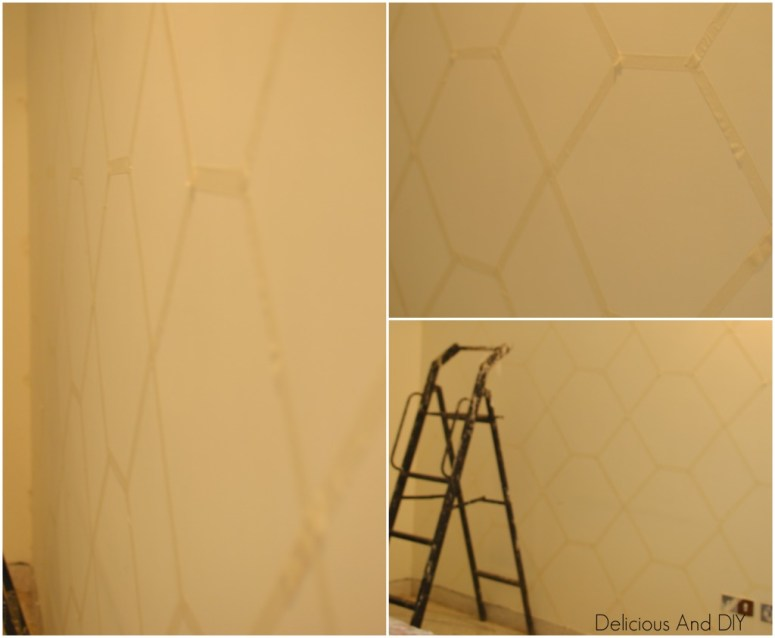 Hexagon Feature Wall  Feature Wall Ideas  Painted Wall  Masking Tape Wall Ideas  Pastel Shade Wall  Feature Wall  Before and After  Room Reveal