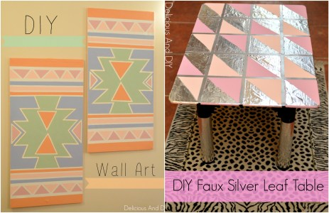 Faux Silver Leaf Table and DIY Wall Art