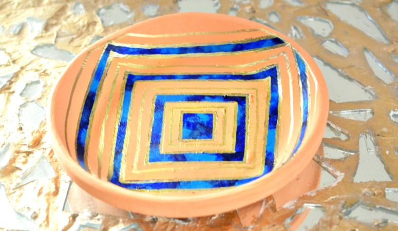 Hand Painted Bowl Makeover {Using Masking Tape}