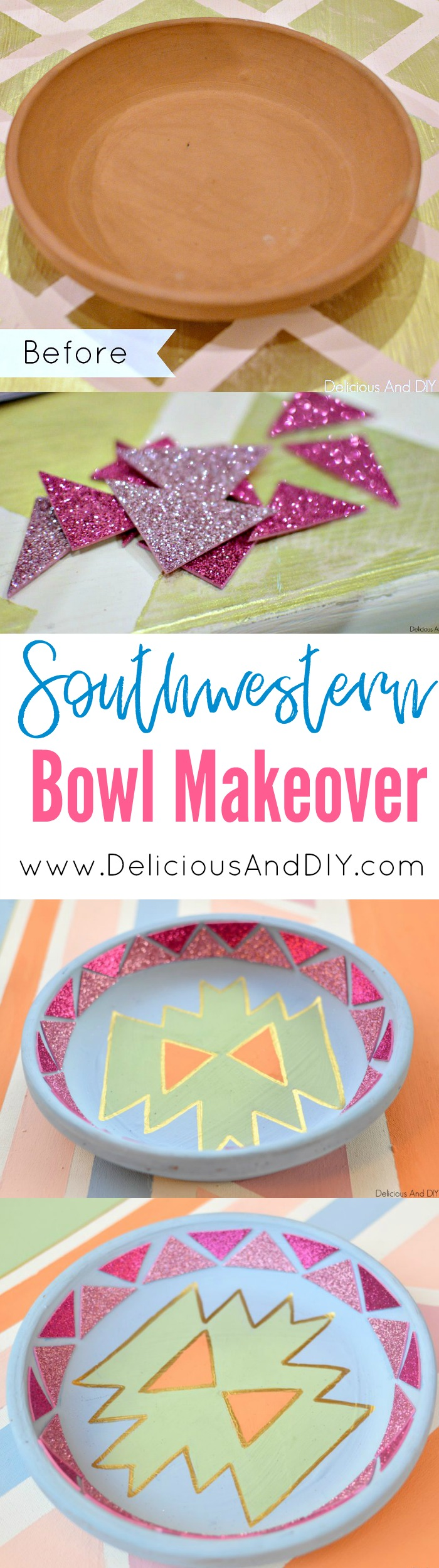 Create a Gorgeous Southwestern Inspired Patten on a Terra Cotta Bowl| Earthen Bowl Makeover | Aztec Inspired Design