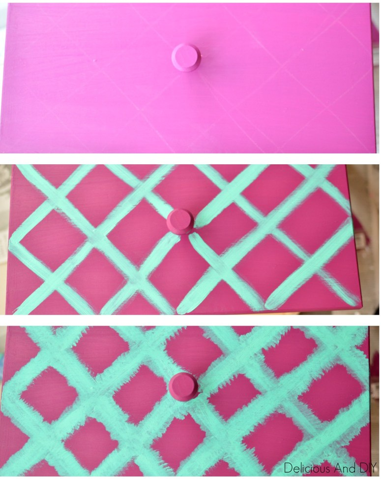 Ikea Tarva Nightstand Makeover with a unique spin using an ikat pattern| Bright colored IKEA Hacks| IKEA Furniture hacks| Repurposed furniture| Painted Ikat pattern| Colorful furniture project| Hand painted Furniture