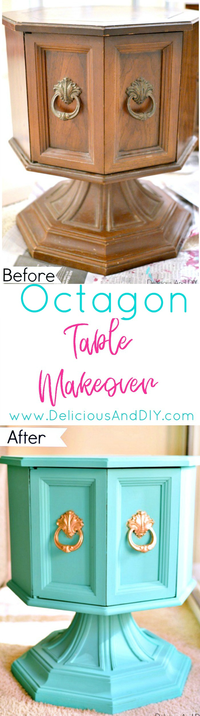 Transform a dated octagon table into this stunning piece of furniture with a pop of color| hexagon table projects| Painted Furniture| DIY Projects| Turquoise Furniture| Before and After| Home Decor| DIY Crafts