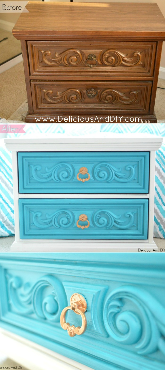 Transform a dated Table into a refreshing furniture piece with this blue and white color combination. Spruce up the old handles with Gold paint and completely give it a makeover.