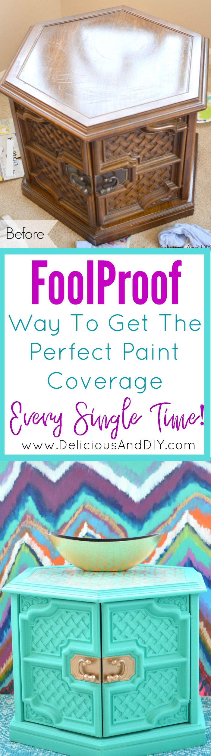 Foolprrof Way to Get the Perfect Paint Coverage Every Single Time| Painting How To| End Table Makeover| Easy Way To Paint| Before and After | Home Decor| Painted Furniture| Coffee Table Ideas| Spray Painted Furniture