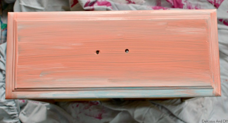drawer painted with coral paint color