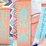 Storage Cabinet Makeover Using Ikat Stencil