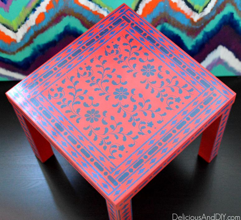 A Round Up of Gorgeous Ikea Furniture Makeovers which are bright and colorful, IKEA Hacks, IKEA furniture makeover ideas, Ikeas Tarva Hack, Painted Furniture, Home Decor, IKEA coffee table hacks, ikat pattern, stenciled furniture, before and after IKEA furniture makeovers, diy crafts, painted furniture
