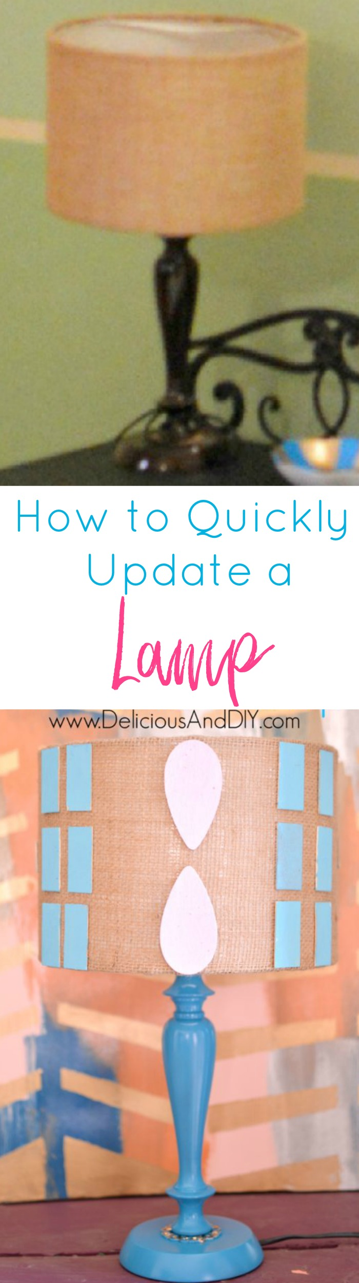 Learn how to quickly update a lamp using a few simple supplies and completely transform it| DIY Crafts| Lamp Makeover Ideas| Lighting Ideas| Lampshade Makeover| Painted Lamps| Craft Ideas