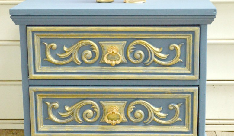 Gold And Grey Nightstand Makeover