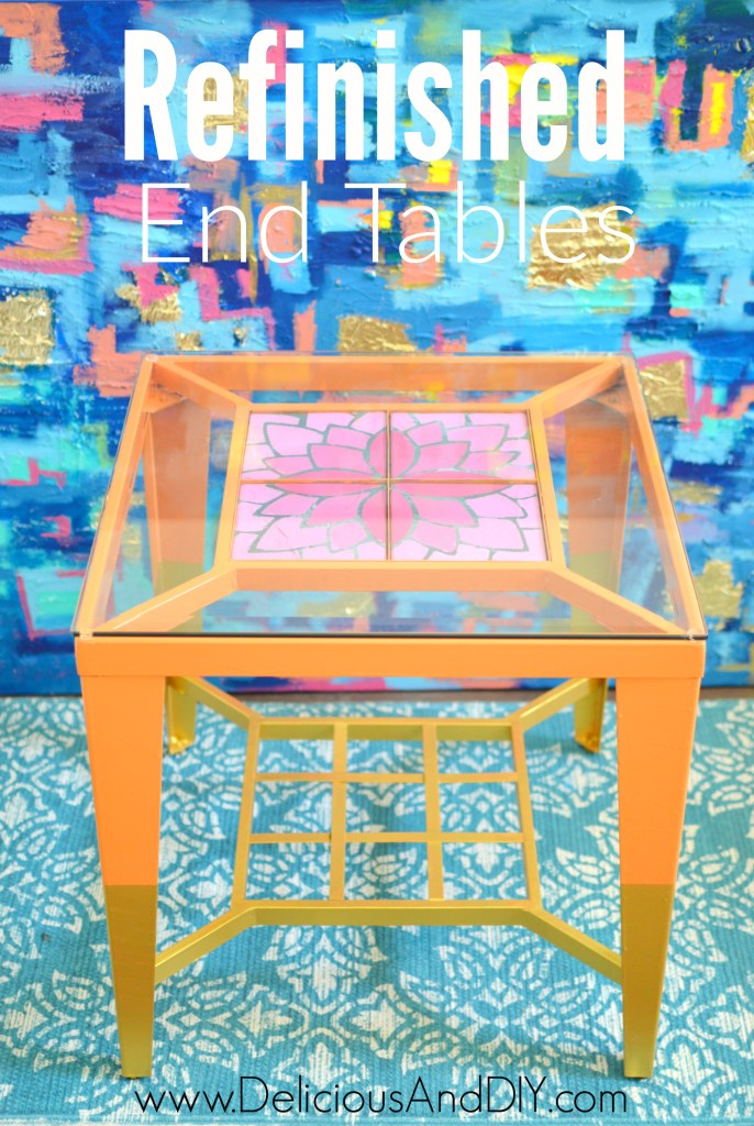 Refinished End Tables| Home Decor| Ombre Flowers| Gold Dipped Legs| Side Table Ideas| Painted Furniture