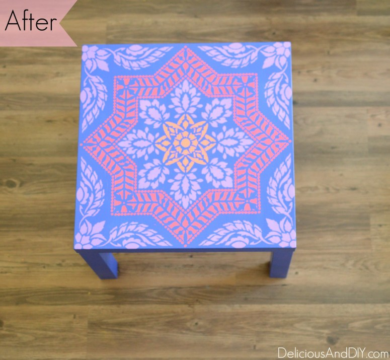 Ikea Lack Side Table Makeover. Ikea Hacks. IKEA painted furniture. Stenciled Furniture. Pattern. Painted Furniture.
