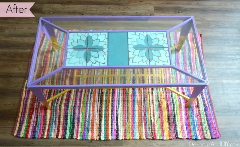 Refinished Coffee Table| Home Decor| Coffee Table Ideas| Ombre Flower| Bright Colored Furniture|Painted Furniture