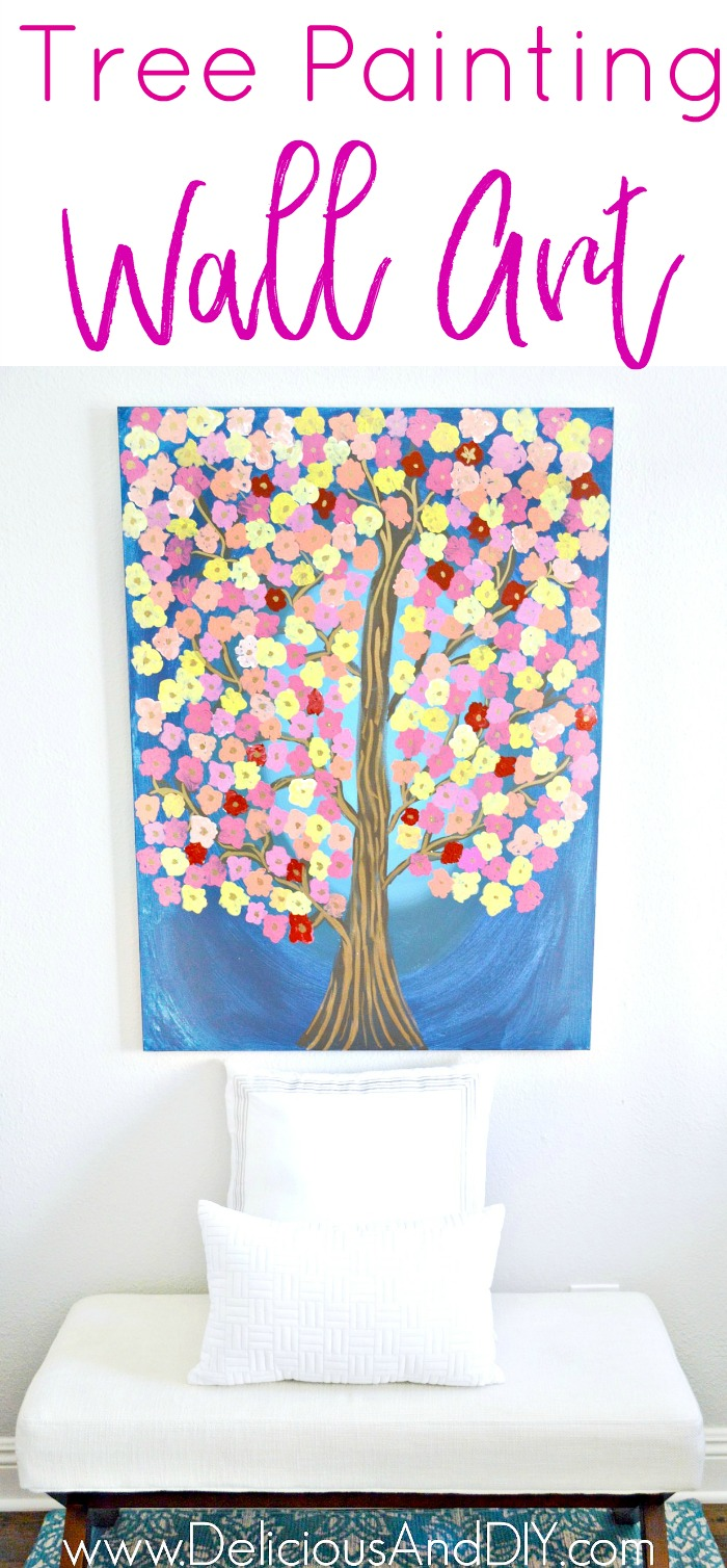 Create this Gorgeous Tree Painting Wall Art and you don't need to be an artist to make this piece| Easy Home Decor Crafts| Wall Art Painting| Tree Canvas Art| Painted Wall Art| Flower Canvas Art| Fun Crafts to do with kids| Painted Wall Art