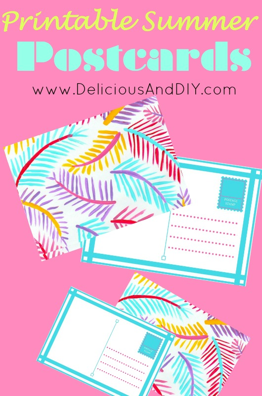 Free Printable Summer Postcards| Summer Craft Ideas| Create these fun palm leaf inspired postcards | Free Printables