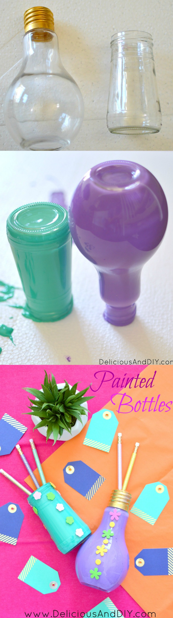 Recycle those empty bottles by this super simple Painted Bottle Technique| Create gorgeous painted bottles| Recycled bottles| Upcycled bottles| Bottle Craft Ideas| Painted Bottles DIY