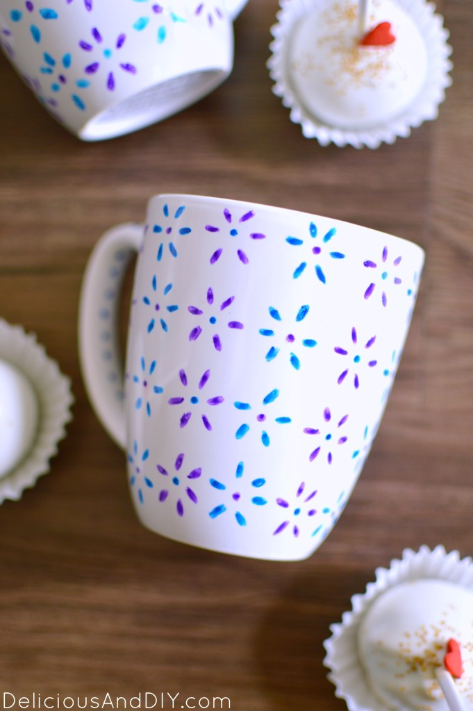 Hand Painted Floral Mug  Anthropolie Inspired Mugs  Glass Painted Mugs  Recycle Old Mugs  Flower Painted Mugs