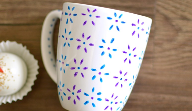 Hand Painted Floral Mug {You Need Only Two Things}