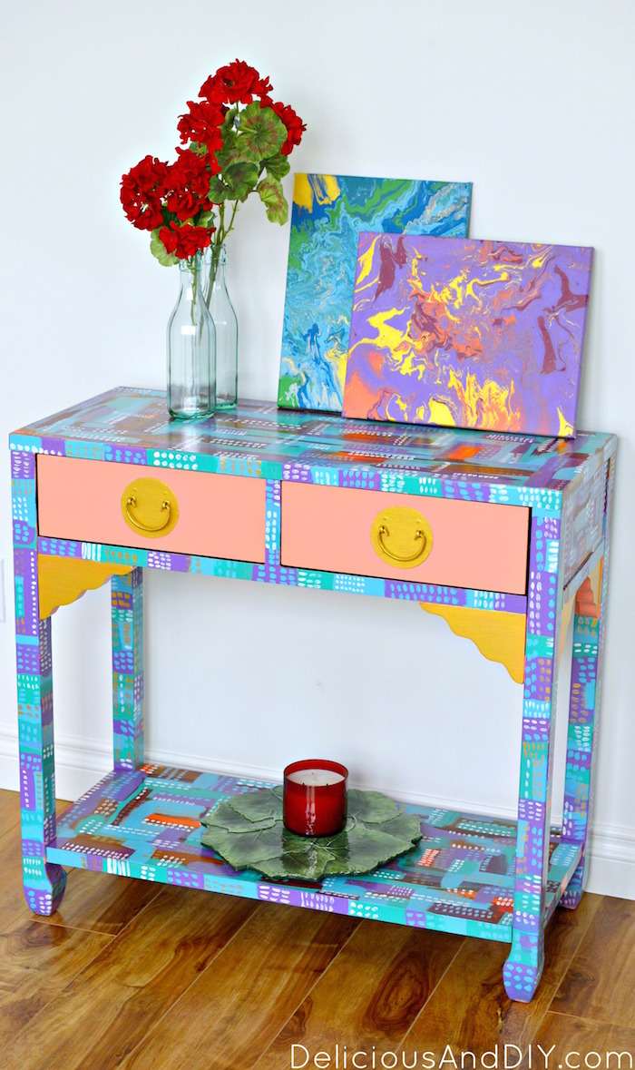 Abstract Console Table Makeover| Hand Painted Furniture| Bright and Bold Furniture| Brushstroke Furniture| Colorful Furniture| Entryway Furniture Ideas| Before and After Furniture Makeover