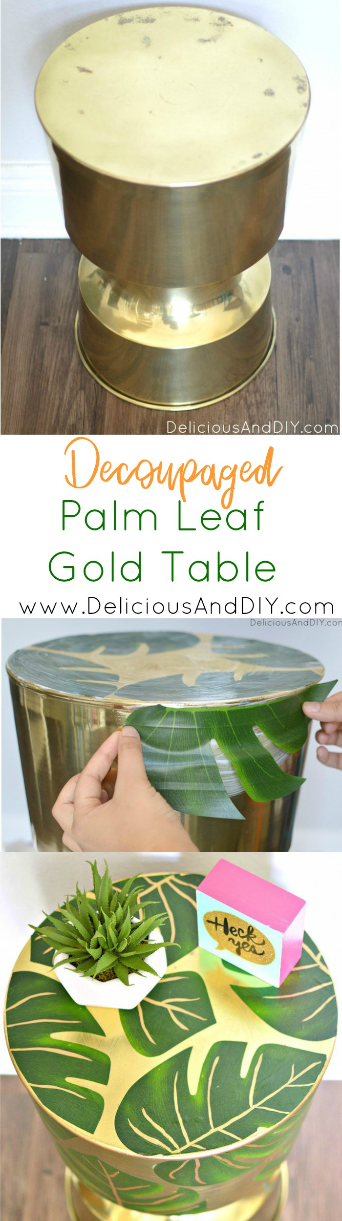 Palm Leaf Table| Palm Leaf Furniture| Modge Podge Projects| Gold Table Decor| Home Decor| Decoupaged Table|Decoupaged Projects|Palm Leaf Table
