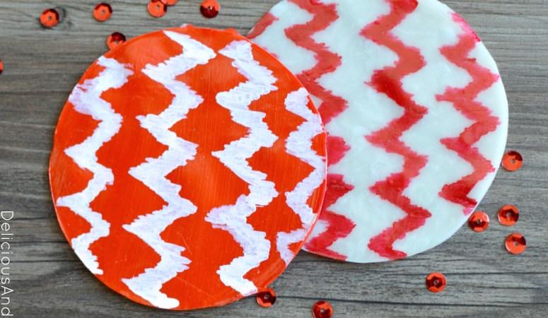Ikat Chevron Clay Coasters