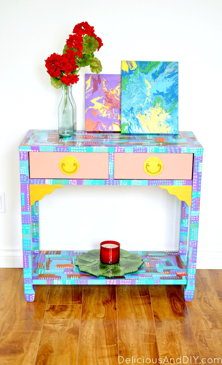 Create a gorgeous almost art like furniture piece in a few simple steps. You don't need to be an artist to create this masterpiece| Home Decor| Painted Furniture| Abstract Art| Before and After| Hand painted furniture| Colors| Console Table Makeover| Console Table Ideas