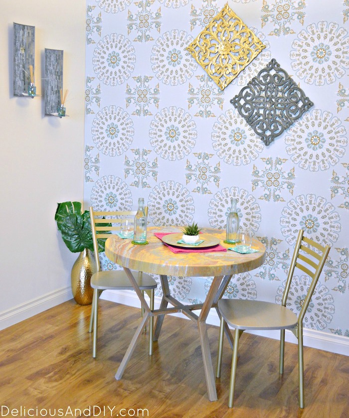 DIY Budget Friendly Dining Room Makeover| Dining Room Reveal| Removable Wallpaper| DIY Wallpaper| Budget Friendly Home Decor Ideas| Room Reveals| Dining Room Ideas| Gold Medallion Pattern| DIY Dining Room Ideas| Room Makeover Ideas