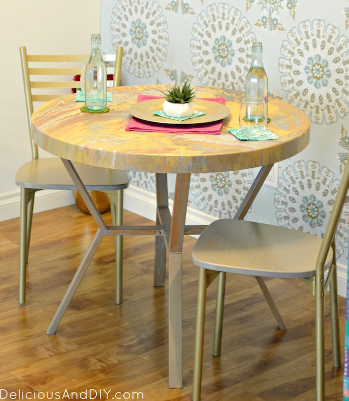 DIY Marbled Painted Dining Table| Dining Table Makeover| Faux Marbled Table|  DIY Furniture Part 77