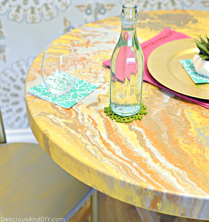 DIY Marbled Painted Dining Table  Dining Table Makeover  Faux Marbled Table  DIY Furniture Makeover  DIY Gold Table  Dining Table Ideas  Painted Table  Room Reveals  Dining Room Ideas