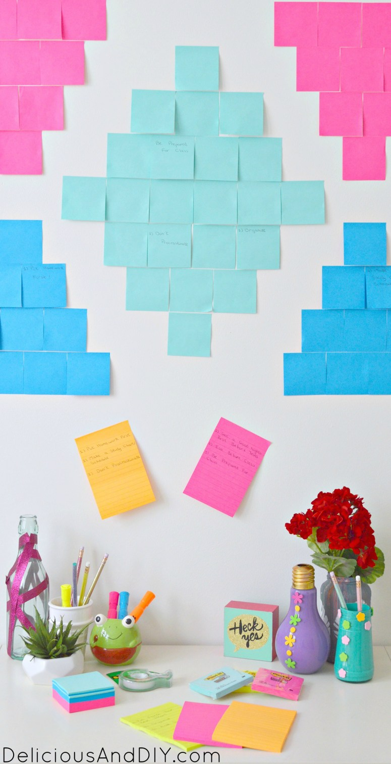 Southwestern Inspired Goal Setting Wall| Aztec Inspired Wall| Creative Wall Ideas| Creative Goal Setting Wall| #shop | #backtoschoolgoals | Post-it® Goal Seeting Wall| Southwestern Inspired Post-it® Back To School Goals| Wall Ideas| Room Reveal| Office Wall Ideas| Office Wall Makeover| Bright and Colorful Walls