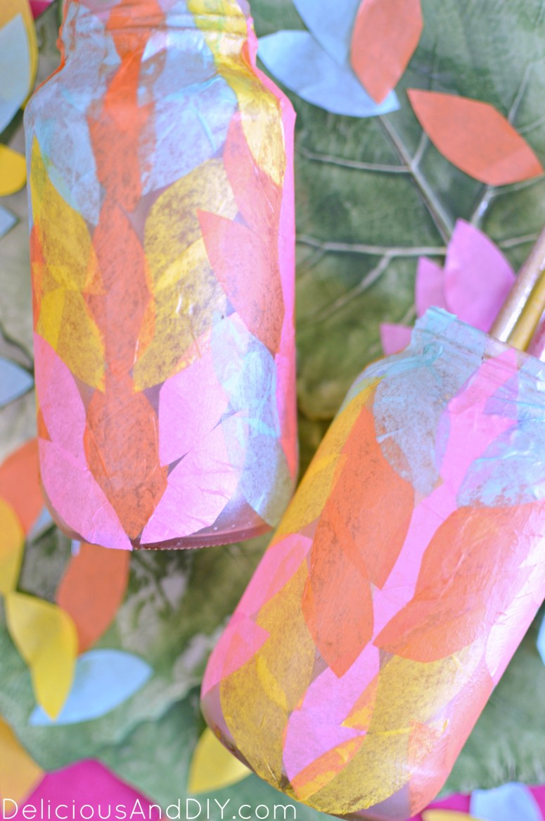 Decoupaged tissue paper bottle ideas delicious and diy for Diy colored paper