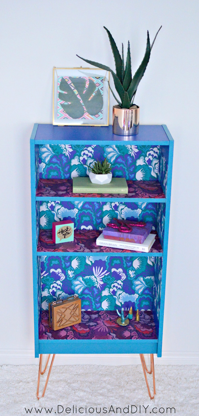 Create this beautiful makeover using Removable Wallpaper and Hairpin Legs and transform any piece of furniture into this beauty  Home Decoration  Furniture Makeover  Removable Wallpaper Ideas  Painted Furniture  Bookshelf Makeover Ideas  Before and After Project Modern Bookshelf  Contemporary furniture ideas  Hairpin Legs Furniture
