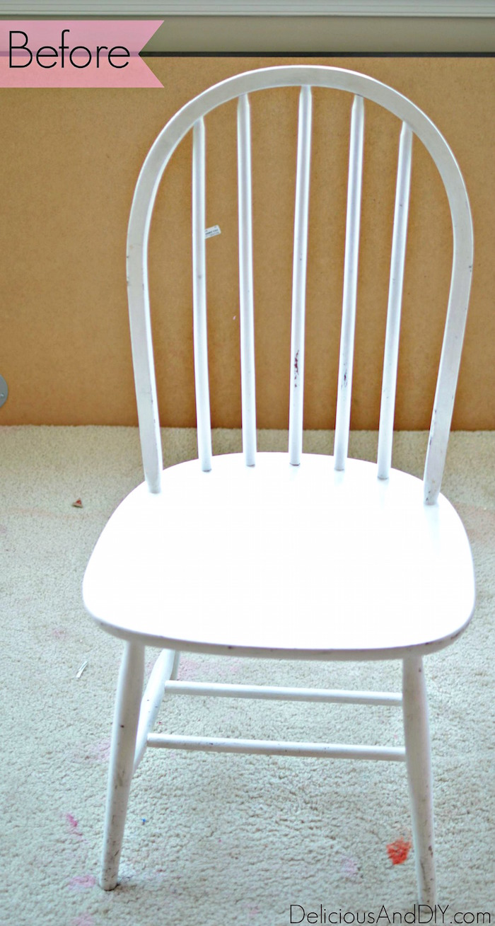 Wooden Chair Makeover Using Only Masking Tape Delicious And DIY