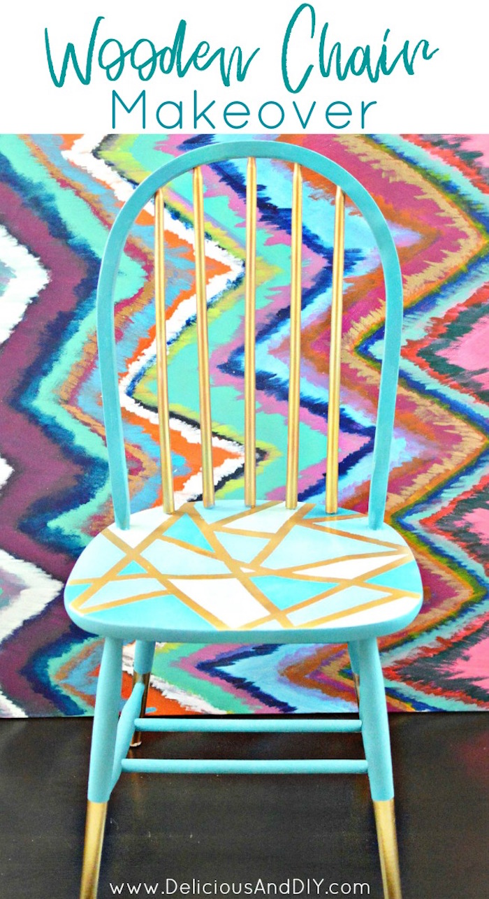 Makeover A Wooden Chair Using Only Masking Tape