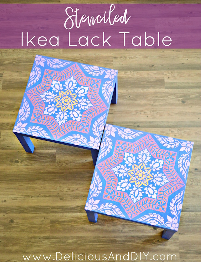 Stenciled Ikea Lack Table Hack| Stenciled Projects|Nightstand Update Ideas|Painted Furniture|Before and After|Moroccan Stenciled Lack Table| Ikea Lack Table Hacks|IKEA Hacks| Home Decor| DIY Crafts|Stenciled Projects