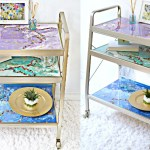 DIY Bar Cart Makeover Using Resin