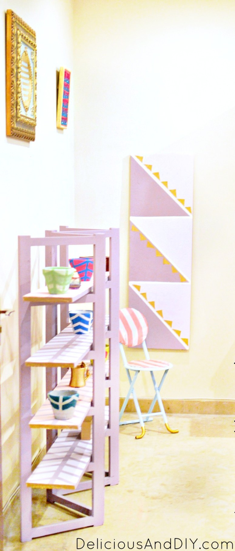 A colorful room that is a complete Do It Yourself from start to finish| Colorful Room perfect for a kids room| Home Decor| Before and After Room Reveals| Painted Wall| Accent Wall Ideas| Room Makeover Ideas| Tribal Art| Handpainted Room Decor