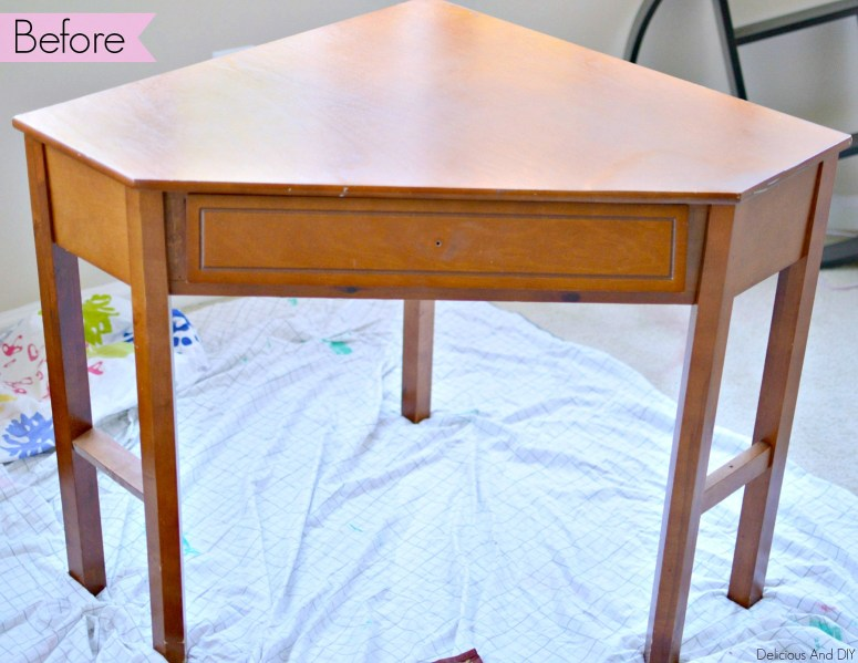 Create a flawless paint finish and completely transform a plain writing table into a beautiful piece| Updated Furniture| Furniture Makeover| Home Decor| Flawless Paint Job on Furniture| Repurposed Furniture| Recycled Furniture| Writing Desk Update| Gold Dipped Leg Table