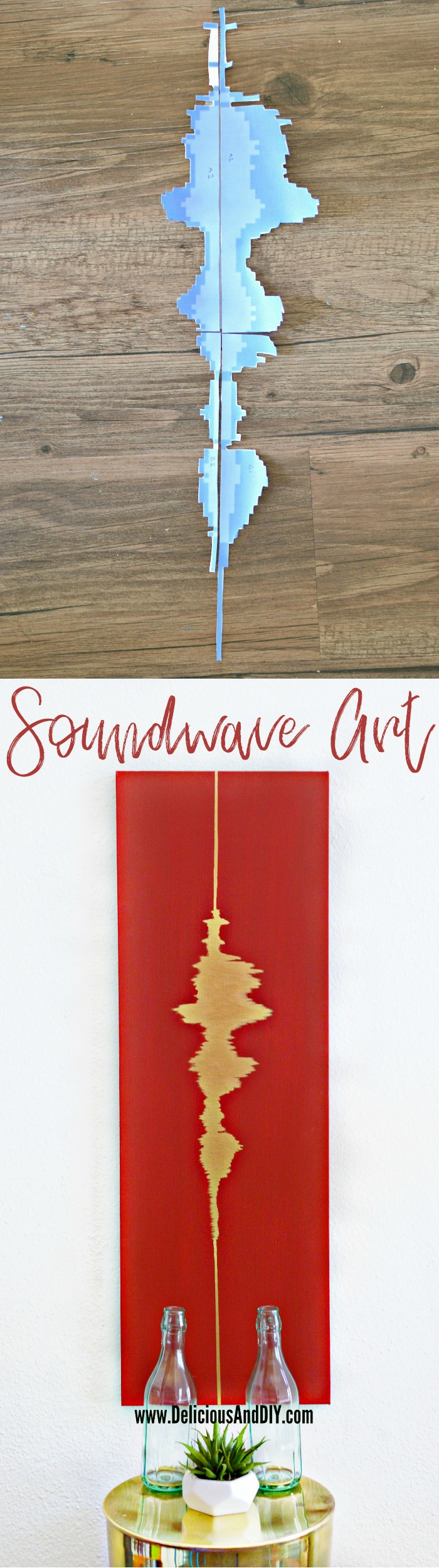 Paint a personal message for your love one with this fun DIY Sound wave Wall Art  Painted Canvas  Creative Gift Ideas  Valentine Day Personalized Gift Ideas  Gallery Wall Idea  Canvas Art  DIY Handprinted Canvas  Red Wall Art Idea  Home Decor