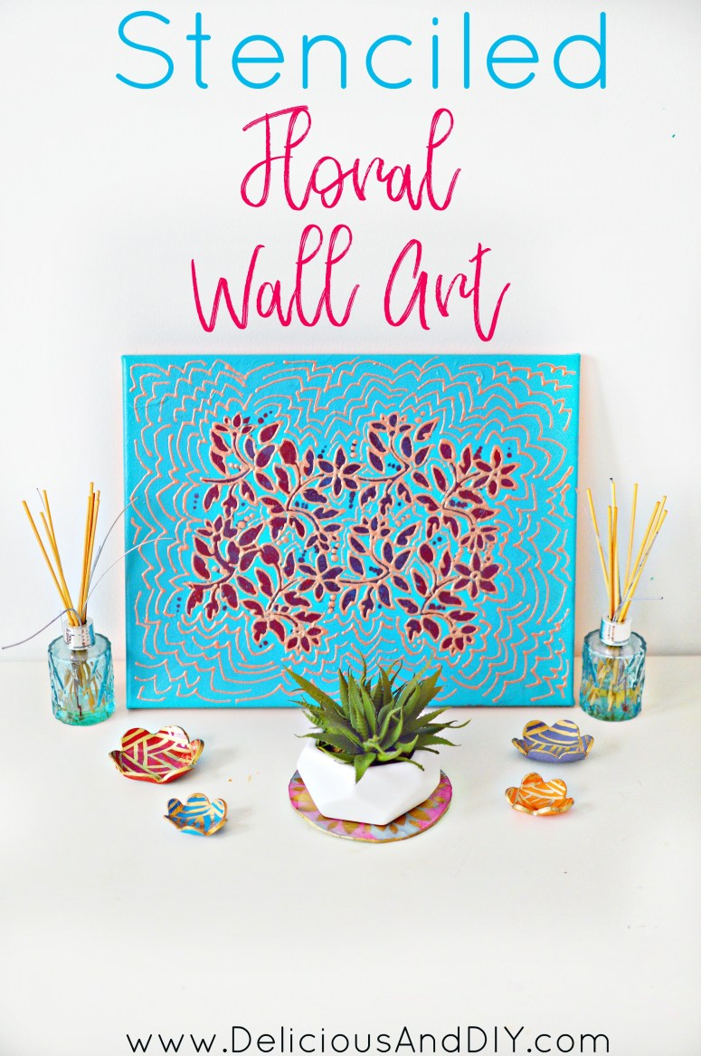Create a gorgeous Floral Wall Art which perfect for the spring season| DIY Wall Art| Canvas Art| Home Decor| Wall Painting Ideas| Painted Projects| Floral Wall Art| Stenciled Floral Wall Art| DIY Crafts| Flower Wall Art|