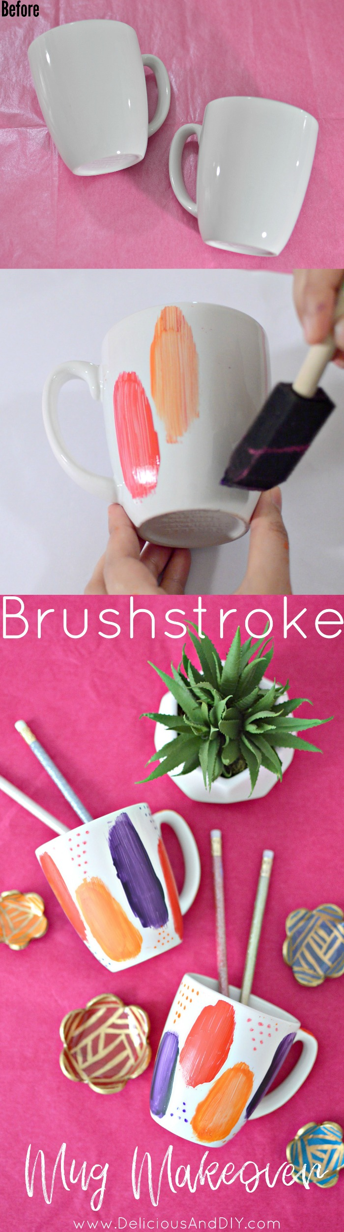 Hand painted Brushstroke Mug Makeover using bright colors to update those plain mugs into an eye catching one| Hand painted Mugs| Brushstroke Mug Makeover| DIY Craft Projects| DIY Ideas| Recycled Mugs and painted Ideas| DIY Home Decor| Brushstroke Design on Mugs