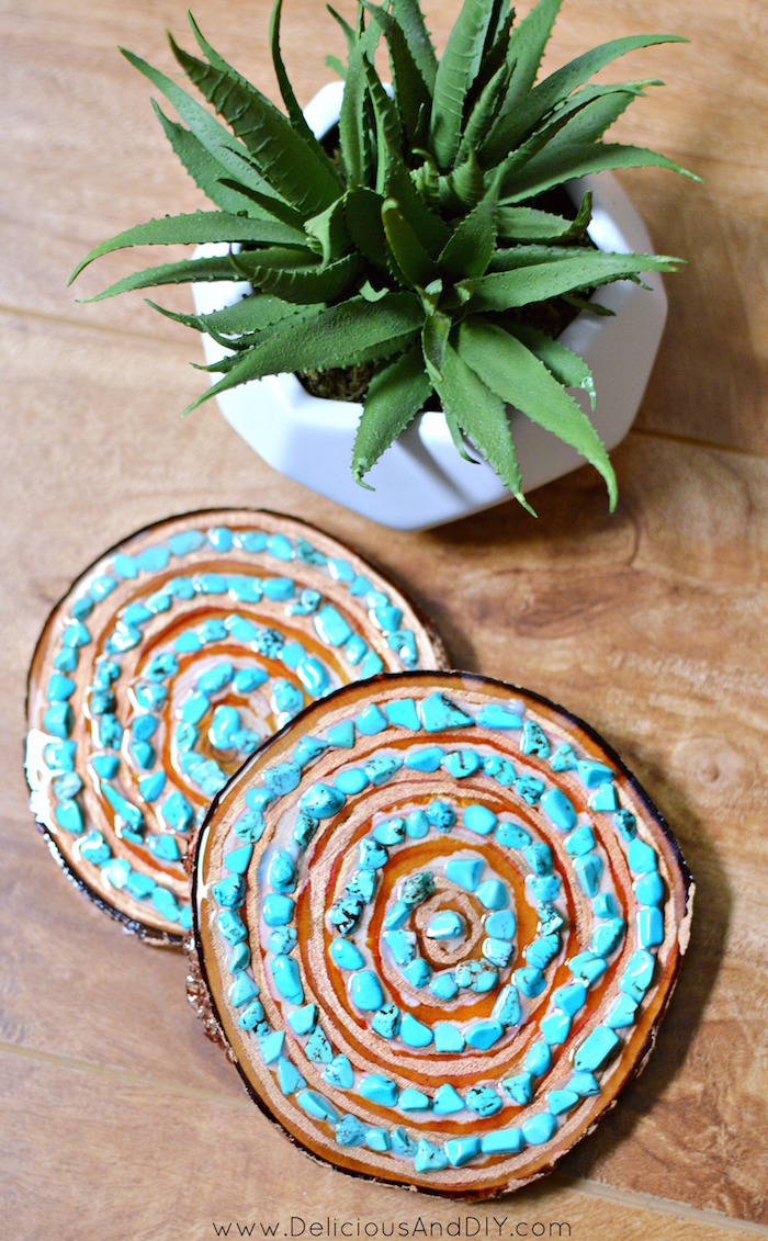 Learn how to create this beautiful Terrrazzo Inspired Mug and Resin Coaster which is perfect as a gift item | Make Iced tea with Bigelow Tea in a hand painted Mug in a few simple steps| DIY Crafts| Terrazzo Inspired Mug using Glass Paint Markers| DIY Resin Coasters using Turquoise Stones| #shop| #TeaProudly| #ad