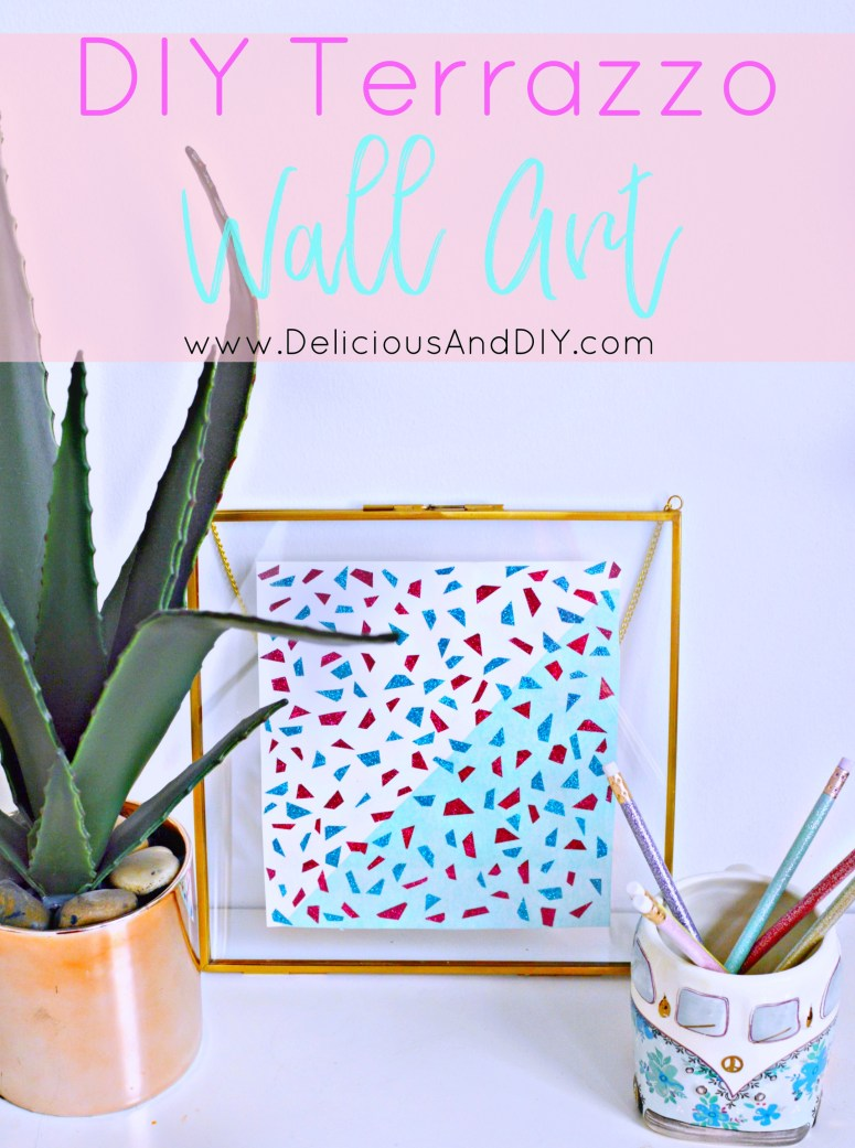 Learn how to create an easy but stunning DIY Terrazzo Wall Art with just Washi Tape in less than thirty minutes| DIY Terrazzo Inspired Wall Art| Geometric Wall Art| Affordable Wall Art| Washi Tape Wall Art